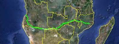 mapa Moçambique Angola